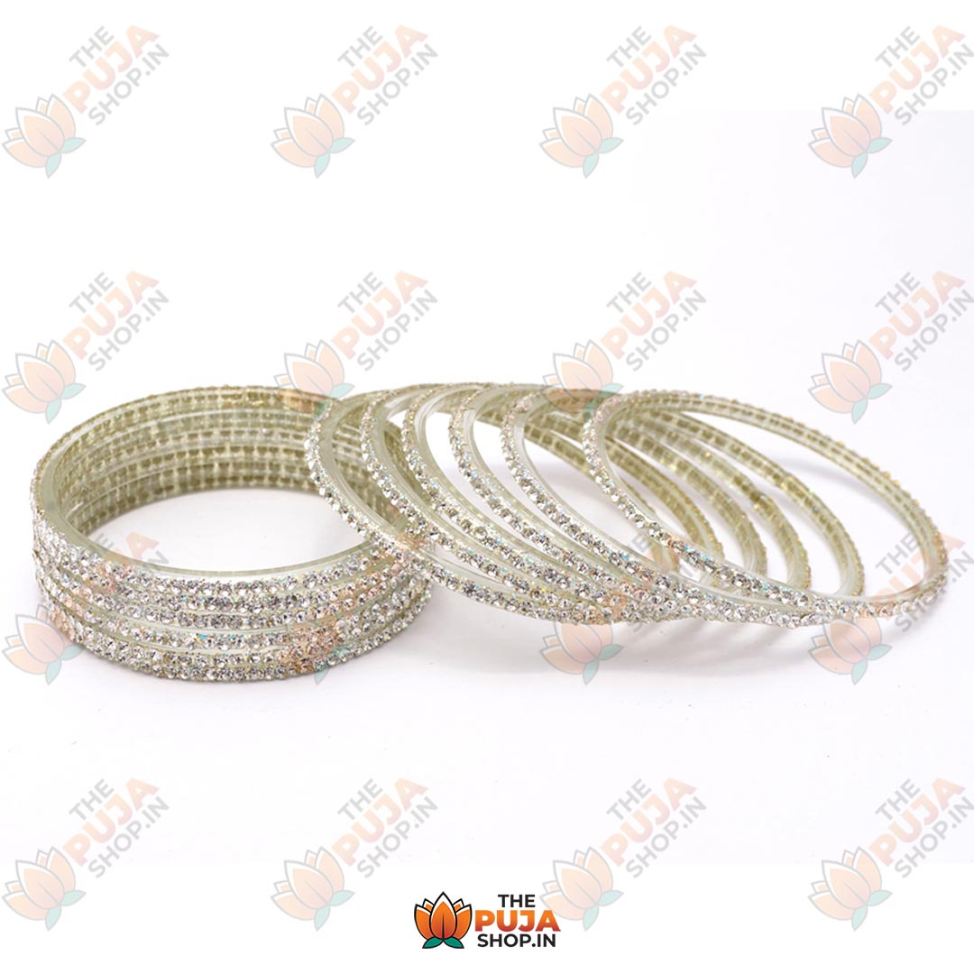 Glass Bangles with Silver Stones